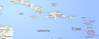 Map of the carribean sea